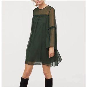 NWT H&M green chiffon long sleeve dress